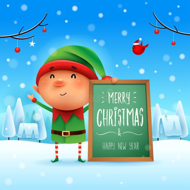 Glad jul! Liten älva med anslagstavlan i landskap för julsnöplatsvinter vektor illustrationer