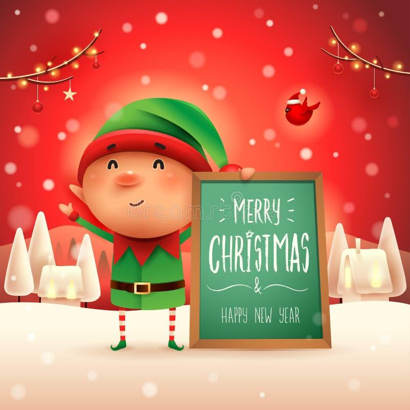 Glad jul! Liten älva med anslagstavlan i landskap för julsnöplatsvinter stock illustrationer