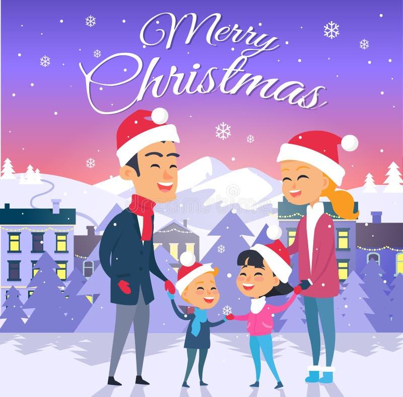 glad jul Lycklig familj av fyra utomhus royaltyfri illustrationer