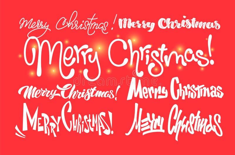 glad jul lyckligt nytt år Handskriven modern borstebokstäver, typografiuppsättning vektor illustrationer