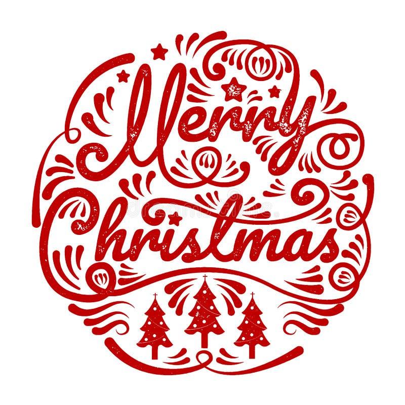 Glad jul, lyckligt nytt år, kalligrafi, tecken & symbol, vec royaltyfri illustrationer