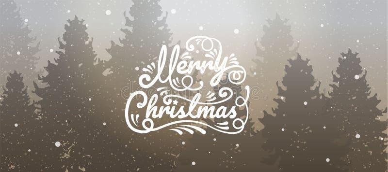 Glad jul, lyckligt nytt år, kalligrafi, vinterlandskap, royaltyfri illustrationer