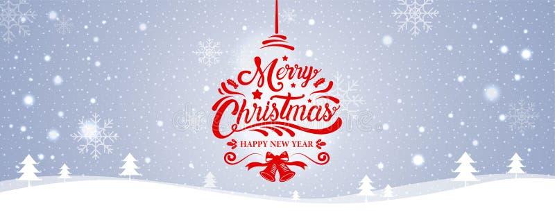 Glad jul, lyckligt nytt år, kalligrafi, vinterlandskap, stock illustrationer