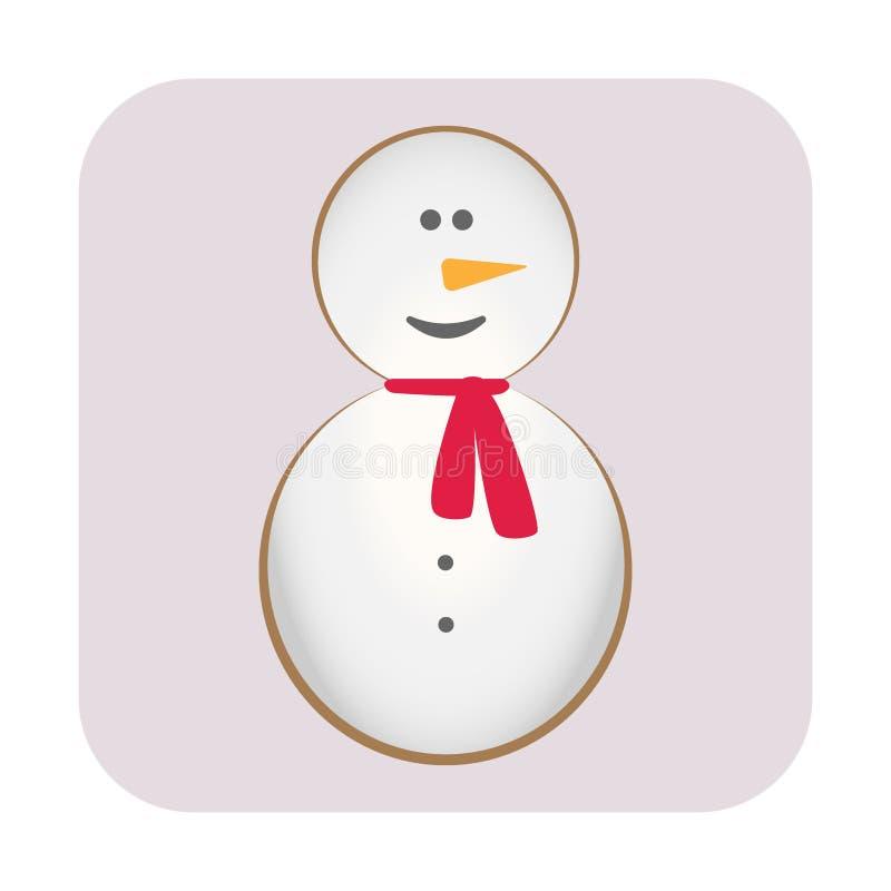 glad jul Lyckligt nytt år Snögubbe, morotnäsa, hatt, röd halsduk och snöflingor Roligt kawaiitecken för gullig tecknad film vektor illustrationer