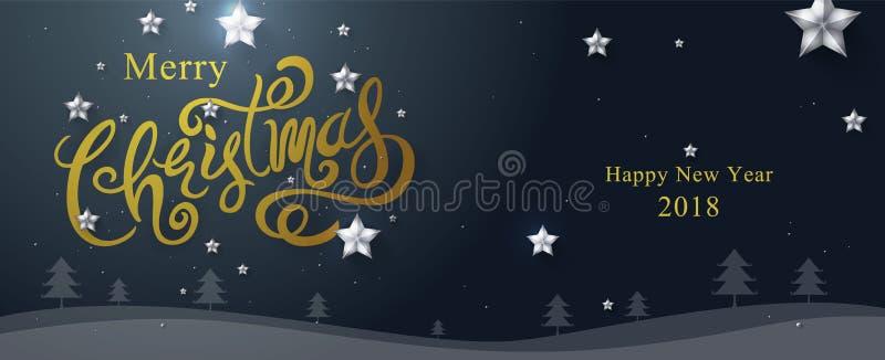 Glad jul & lyckligt nytt år 2018 som är calligraphic, typ vektor illustrationer