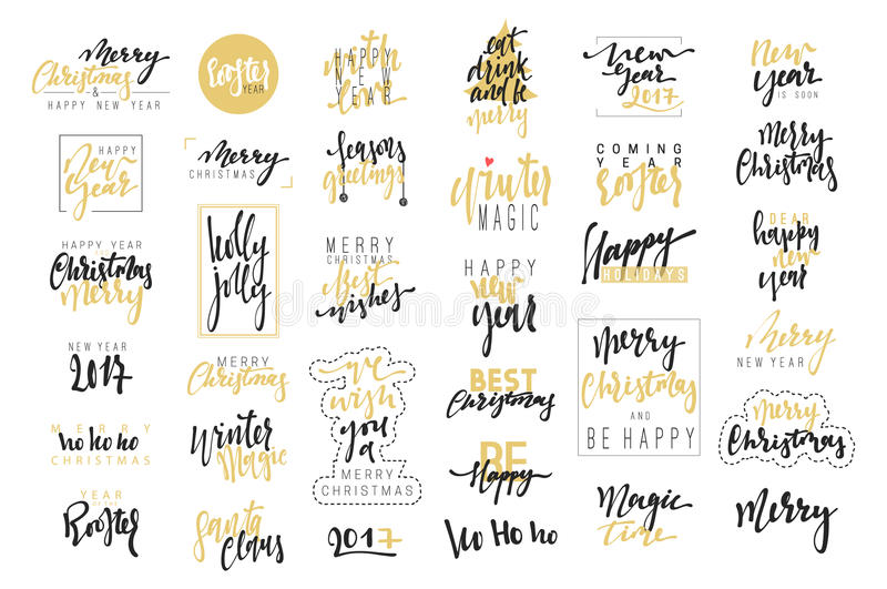 Glad jul, lyxiga kalligrafiemblem för det lyckliga nya året 2017 ställde in stock illustrationer