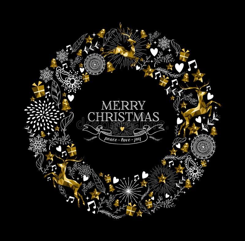 Glad jul märker kransen guld- hjortar lågt poly royaltyfri illustrationer