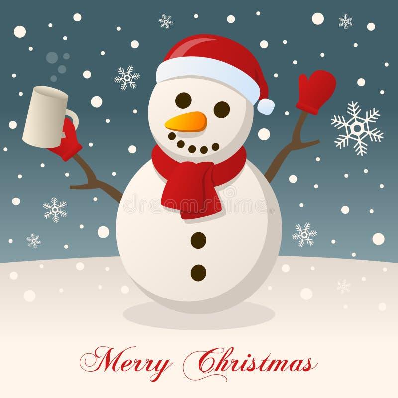 Glad jul med den berusade snögubben royaltyfri illustrationer