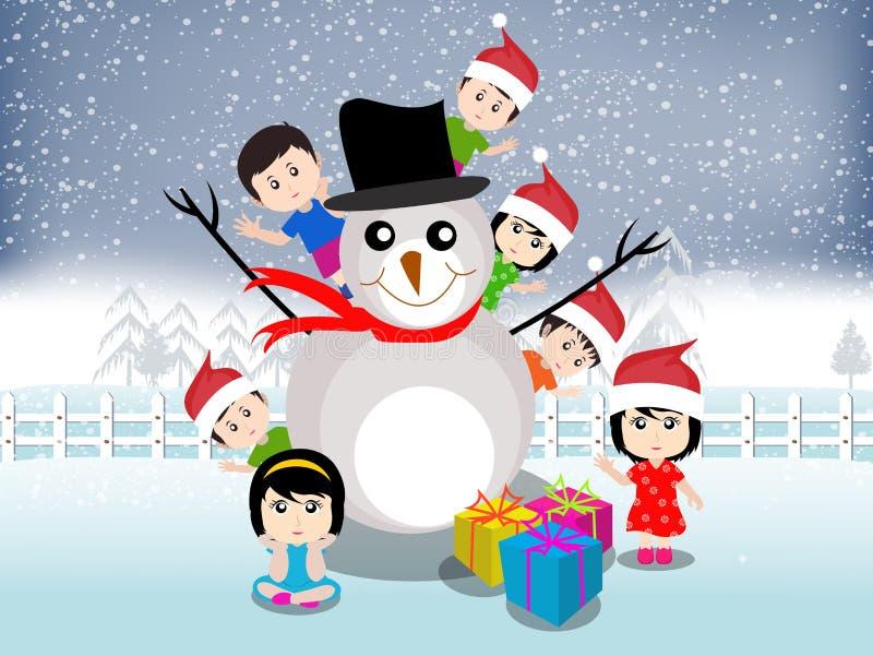 Glad jul med den lyckliga ungevektorn stock illustrationer