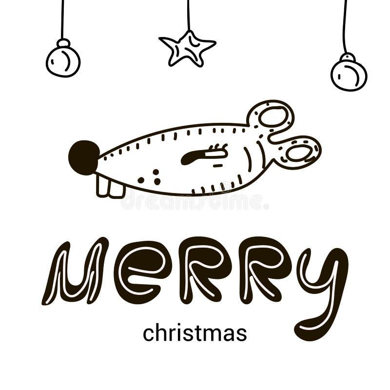 Glad jul med den roliga tecknade filmen behandla som ett barn musen royaltyfri illustrationer