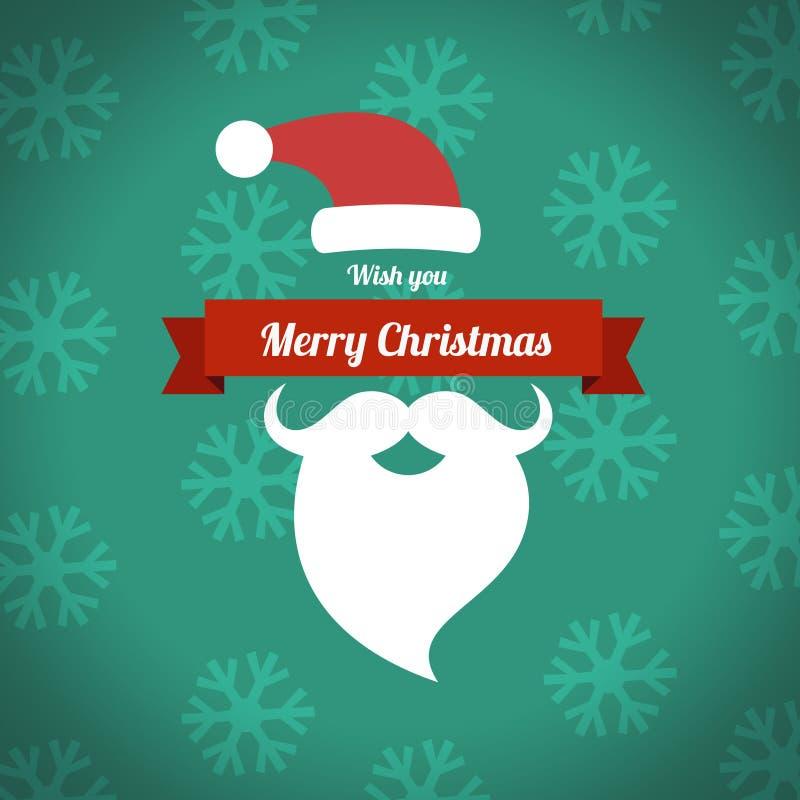 Glad jul med det santa skägget stock illustrationer