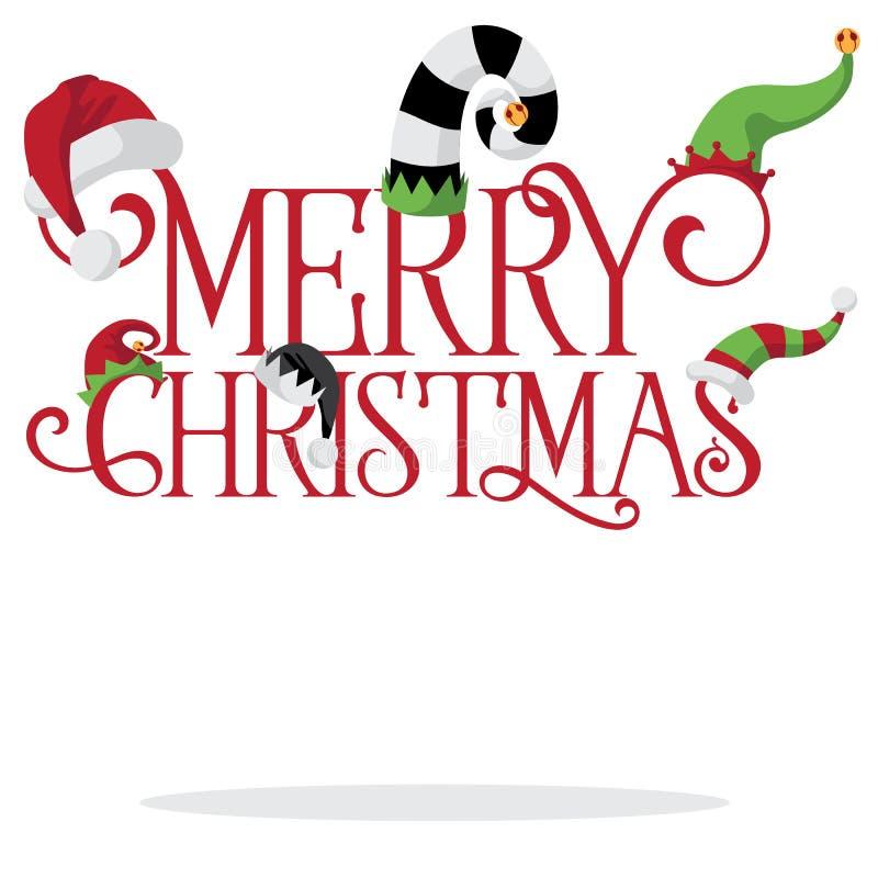 Glad jul med feriehattar stock illustrationer