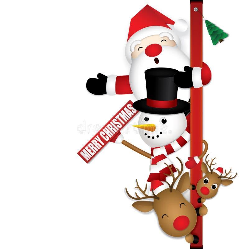Glad jul med gulliga Santa Claus Reindeer och snögubben arkivfoton