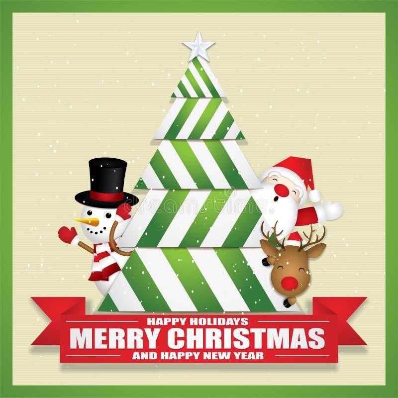 Glad jul med gulliga Santa Claus Reindeer och snögubben arkivbild