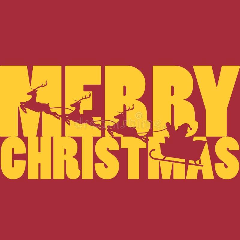 Glad jul med Santa Claus och hans rensläde royaltyfri illustrationer