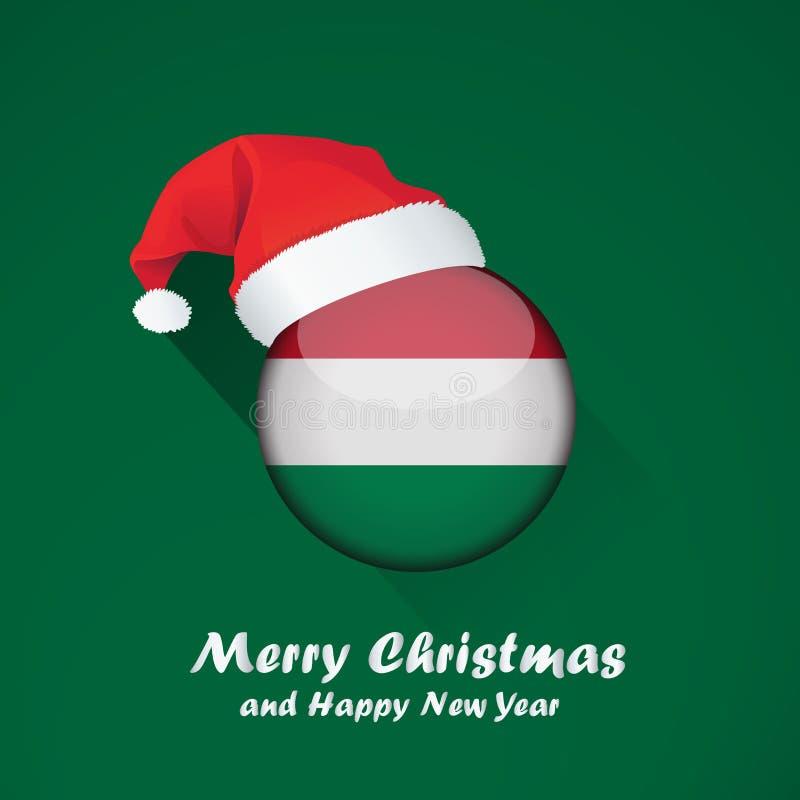 Glad jul och bakgrundsdesign för lyckligt nytt år med den glansiga rundan av flaggan royaltyfri illustrationer