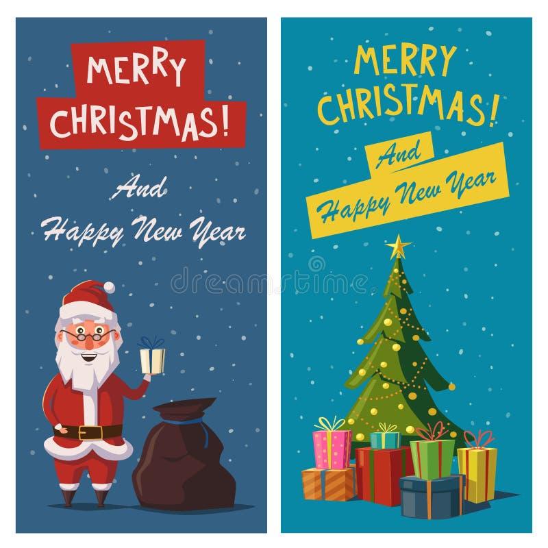 Glad jul och baner för lyckligt nytt år den främmande tecknad filmkatten flyr illustrationtakvektorn vektor illustrationer