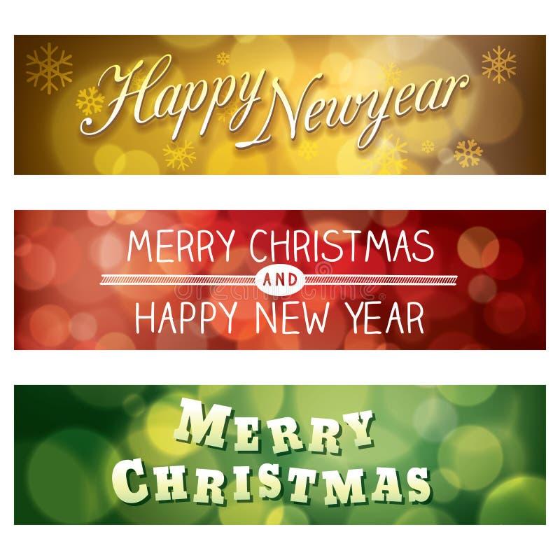 Glad jul och Bokeh för lyckligt nytt år bakgrund Banne royaltyfri illustrationer
