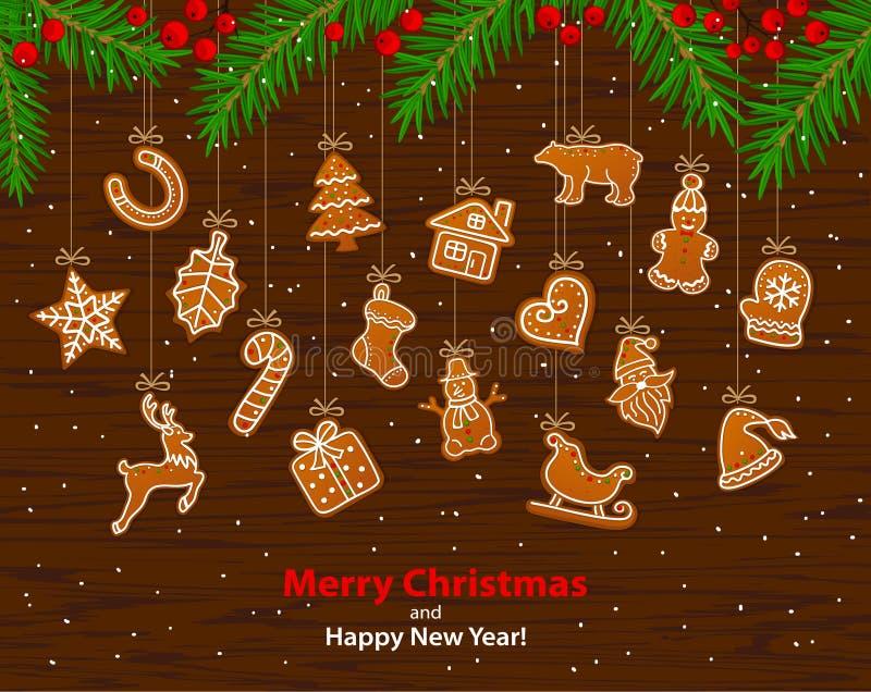 Glad jul och det lyckliga nya året övervintrar bakgrund för hälsningkortet med att hänga på reppepparkakakakor stock illustrationer