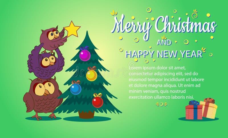 Glad jul och det lyckliga nya året, ugglafamiljen dekorerar trädet, vektorillustration vektor illustrationer