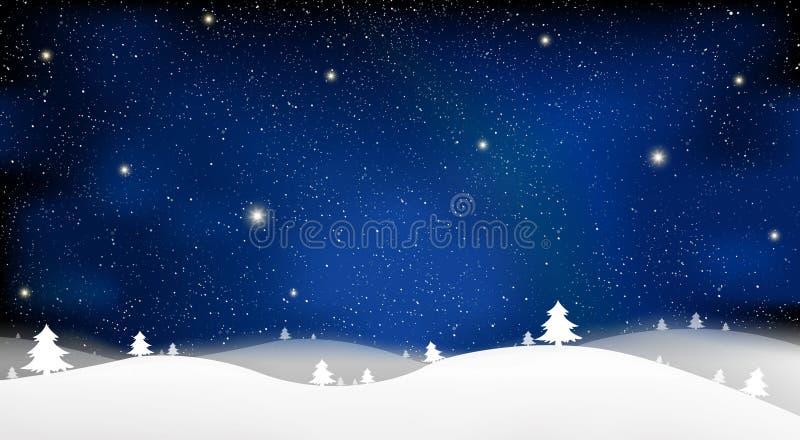 Glad jul och det nya året av blått snöar ljus bakgrund för stjärnan på illustration för blå himmel royaltyfri illustrationer