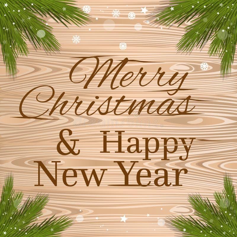 Glad jul och ett lyckligt nytt år planlägger vektor illustrationer