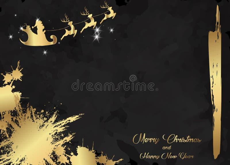 Glad jul och ett lyckligt nytt år, Santa Claus av guld med ett renflyg Elegant lyxig broschyr, kortbakgrundsräkning vektor illustrationer