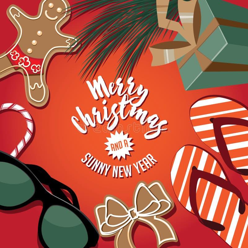Glad jul och ett soligt nytt år från en varm plats stock illustrationer