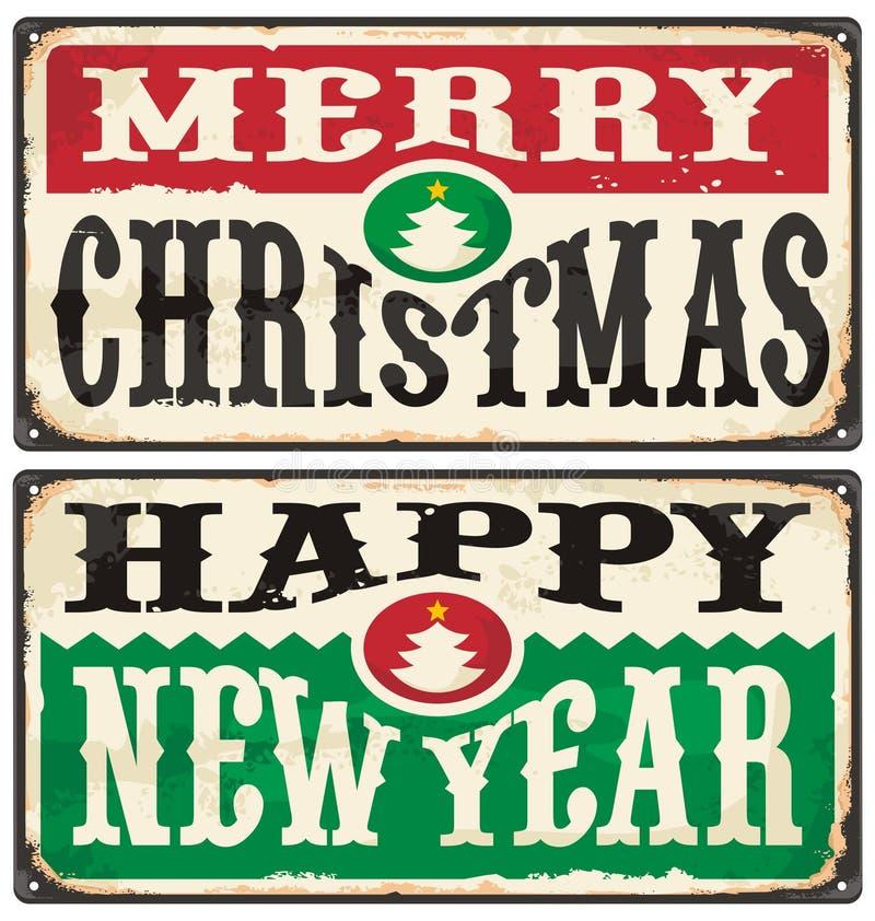 Glad jul och för tappningtecken för lyckligt nytt år uppsättning vektor illustrationer