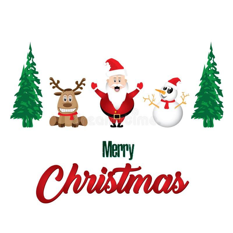 Glad jul och garneringar Santa Claus Reindeer Snowman på vit bakgrund royaltyfri illustrationer