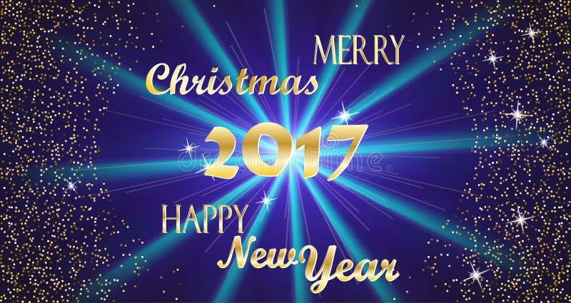 Glad jul och guld- typografi för lyckligt nytt år 2017 och ljusa stjärnor på ett mörker - blå bakgrundsvektorillustration royaltyfri illustrationer