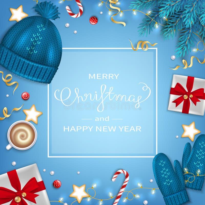 Glad jul och hälsningbakgrund för lyckligt nytt år Filialer för vinterbeståndsdelgran, stucken blå hatt, tumvanten, kaffekopp, gå royaltyfri illustrationer
