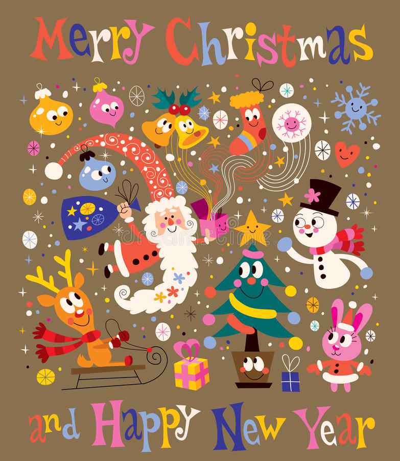 Glad jul och hälsningkort för lyckligt nytt år stock illustrationer