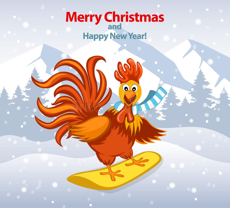 Glad jul och hälsningkort för lyckligt nytt år med den gulliga roliga tuppen på Snowboard royaltyfri illustrationer