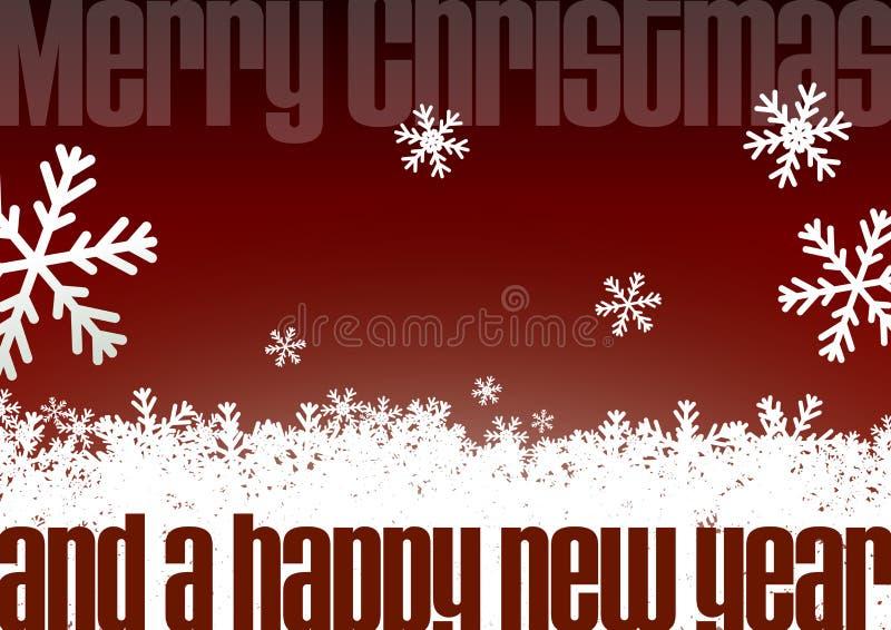 Glad jul och hälsningkort för lyckligt nytt år med snöflingor vektor illustrationer