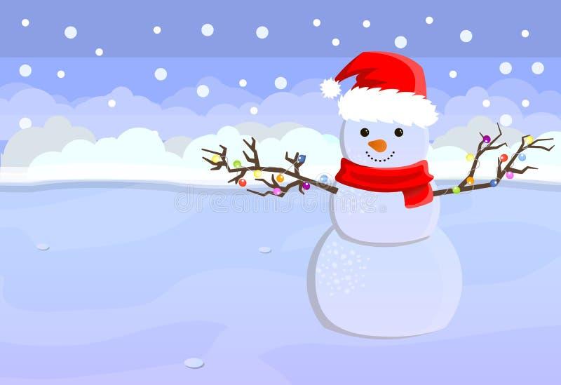 Glad jul och hälsningkort för lyckligt nytt år med utrymme för din text Gullig snögubbe i hatt av det Santa Claus anseendet i vin arkivfoto