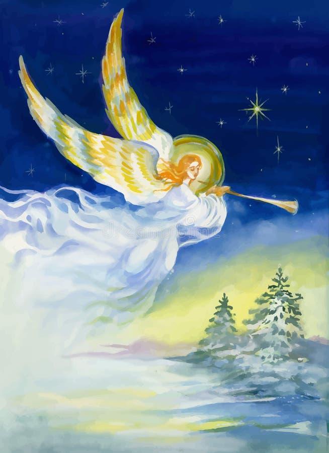 Glad jul och hälsningkort för nytt år med den härliga ängeln med vingar, vattenfärgillustration stock illustrationer