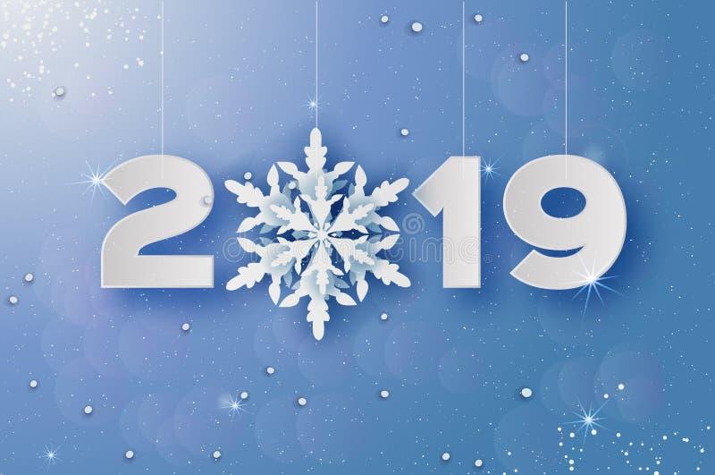 2019, glad jul och hälsningskort för lyckligt nytt år Vitboksnittsnöflingor Origamigarneringbakgrund stock illustrationer