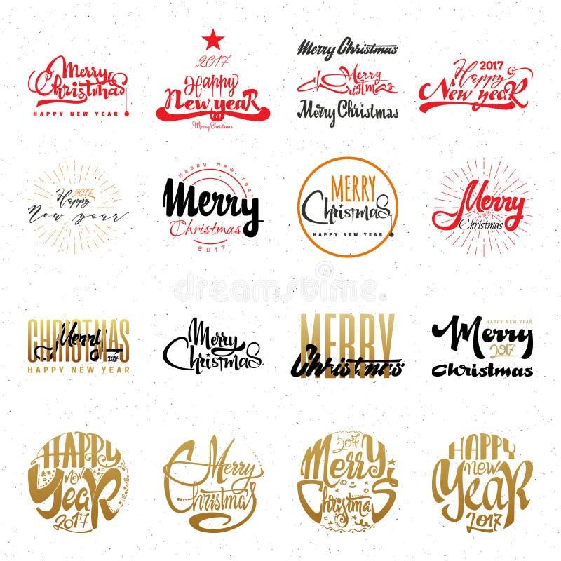 Glad jul och hand-bokstäver för lyckligt nytt år text 2017 Handgjord vektorkalligrafi för din design stock illustrationer