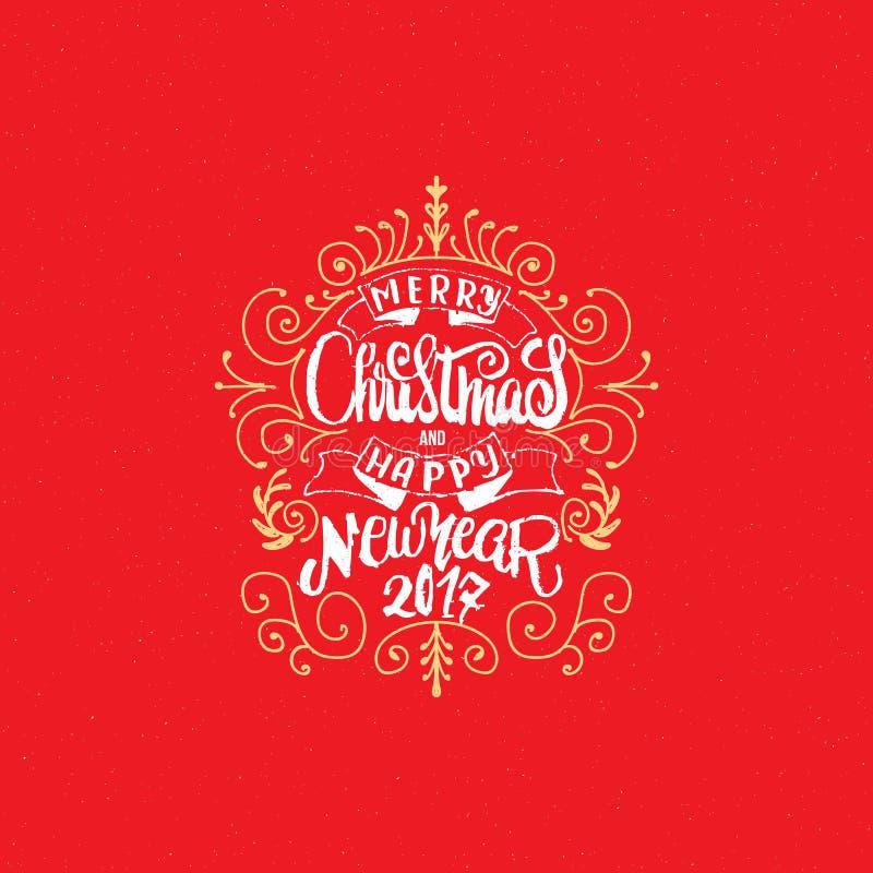 Glad jul och hand-bokstäver för lyckligt nytt år text 2017 Handgjord vektorkalligrafi för din design royaltyfri illustrationer