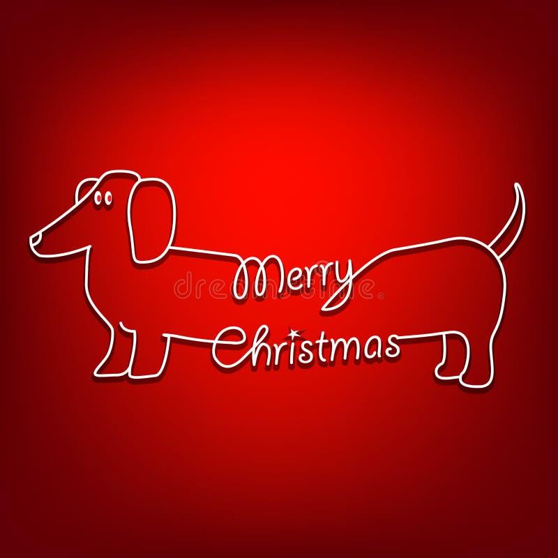 Glad jul och hund royaltyfri illustrationer
