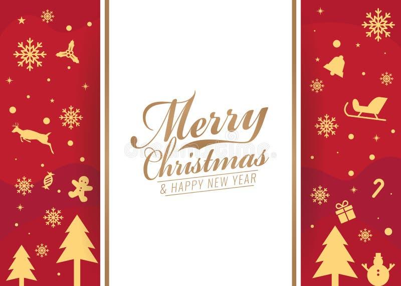 Glad jul och kort för lyckligt nytt år - den vita banertext och julsymbolen på röd bakgrundsvektor planlägger royaltyfri illustrationer