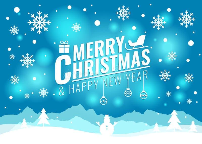 Glad jul och kort för lyckligt nytt år - julgranen och snösnögubben på blå ljus bakgrundsvektor planlägger royaltyfri illustrationer