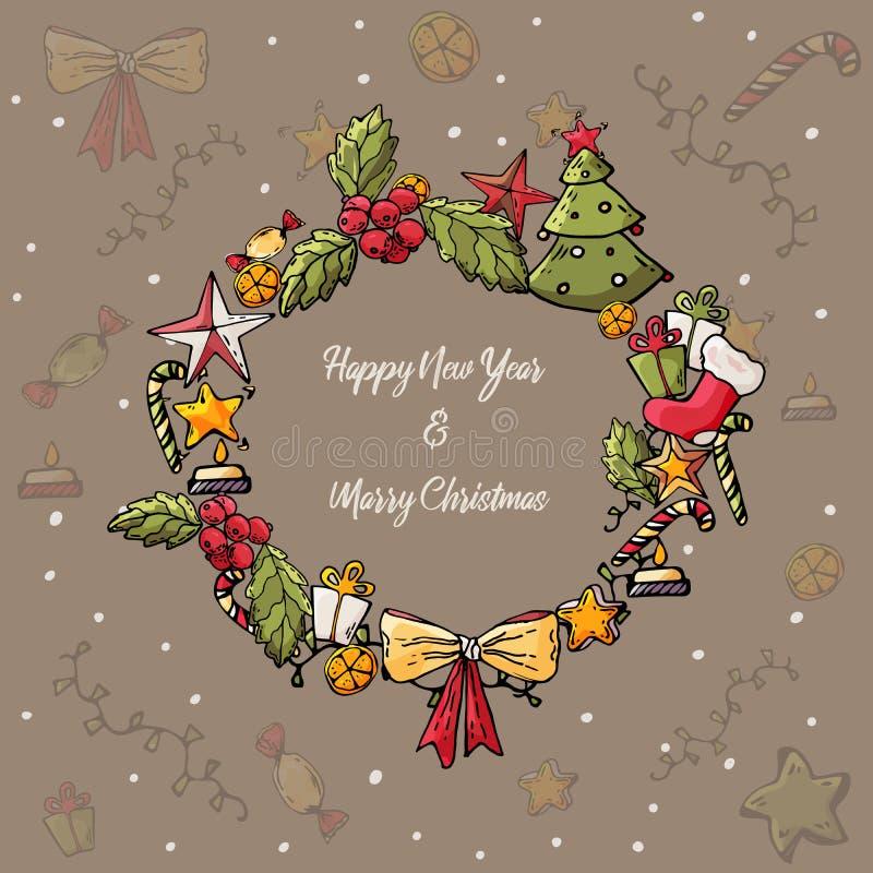 Glad jul och kort för lyckligt nytt år Julkrans med trädet, pilbåge, gåva, stearinljus, stjärnor, snö Vektorhandteckning vektor illustrationer