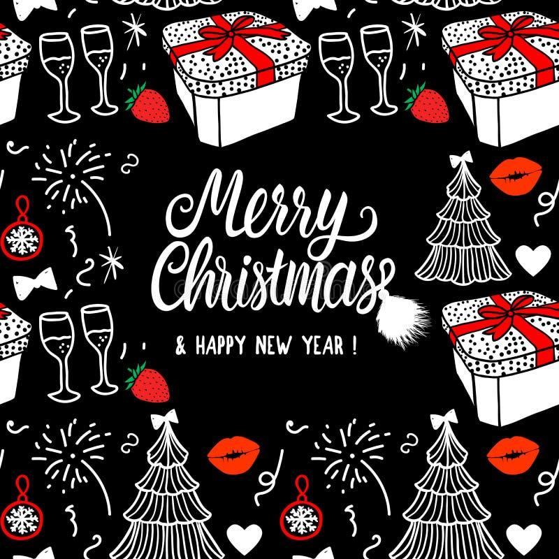Glad jul och kortmode för lyckligt nytt år skissar det berömgåvaasken, trädet och fyrverkerier Vit och röd hand stock illustrationer