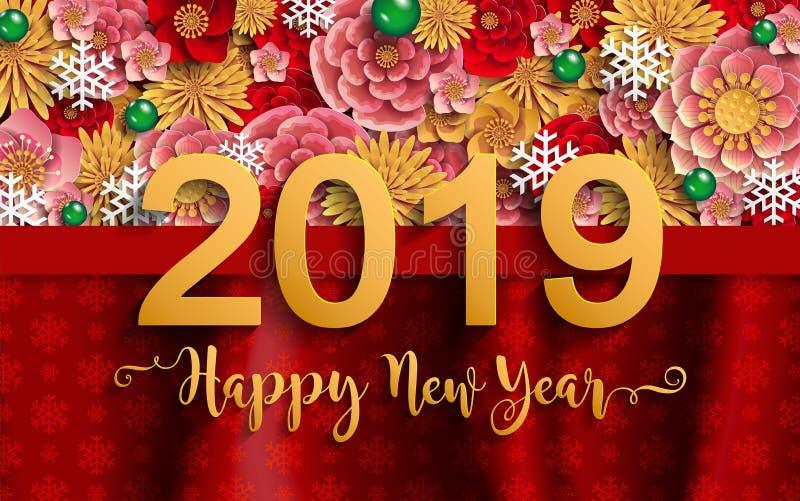 Glad jul och lyckligt nytt år 2019 vektor illustrationer