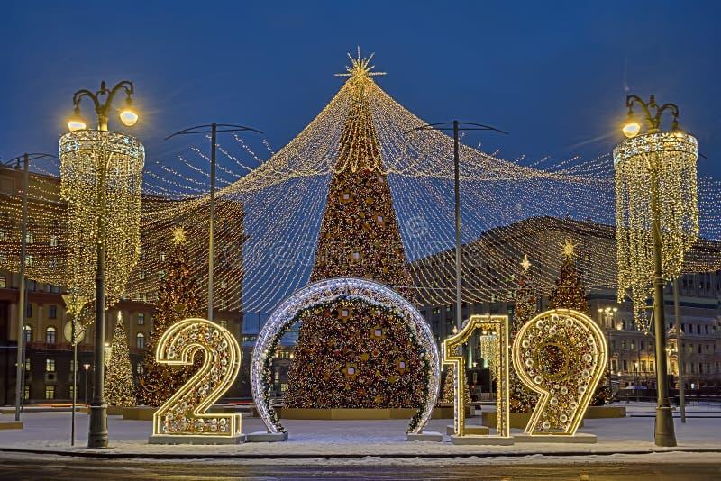 Glad jul och lyckligt nytt 2019 år arkivbilder