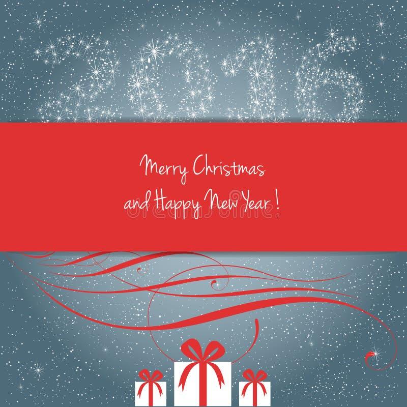 Glad jul och lyckligt nytt år 2016 vektor illustrationer