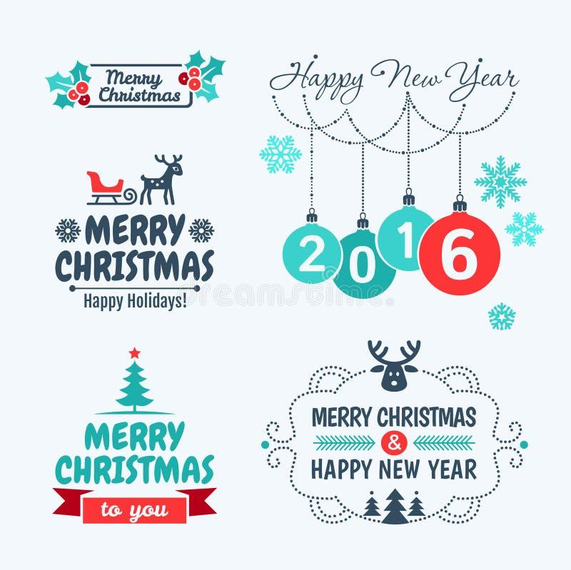 Glad jul och lyckligt nytt år 2016 royaltyfri illustrationer