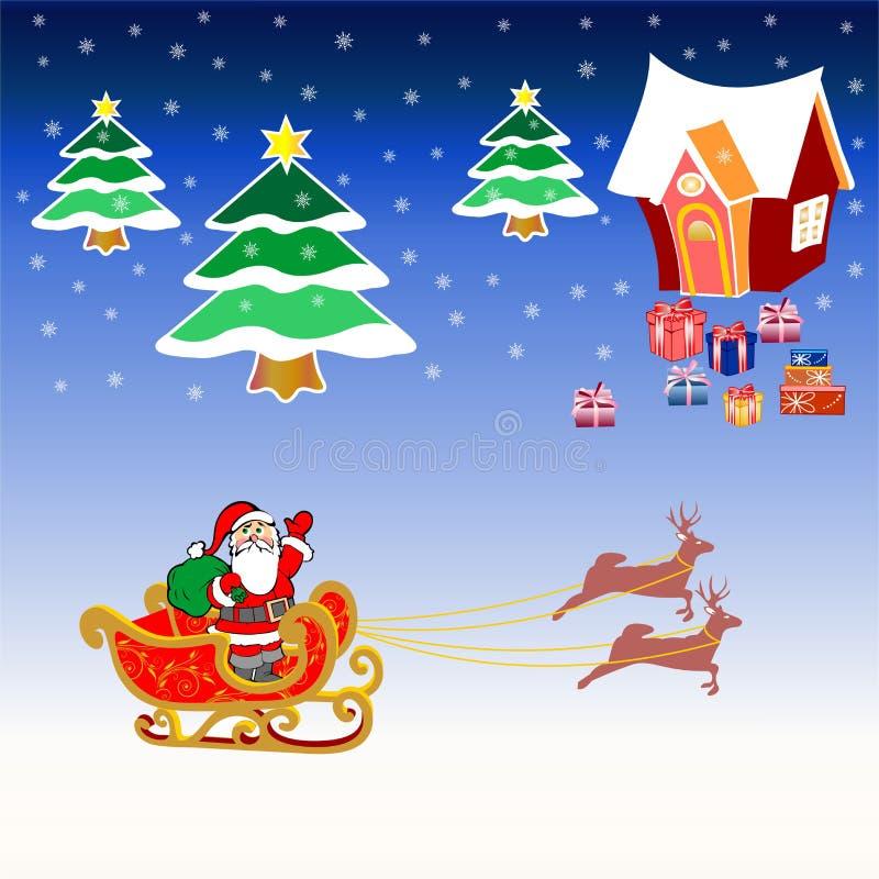 Glad jul och lyckligt nytt år vektor illustrationer
